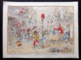 James Gillray 1851 HCol Print. Promis'd of Horrors of a French Invasion